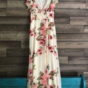 NWT Leslie Fay Ivory & Pink Maxi Dress
